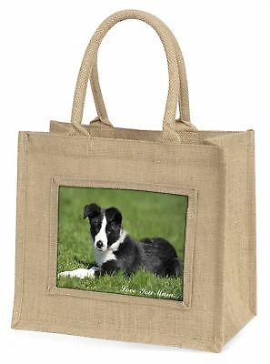 Border Collie Hund' Liebe, die sie Mama 'Große natürliche jute-einkaufstasche,