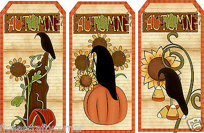 "6 LARGE ""FALL"" AUTUMN CROWS APPLES HANG / GIFT TAGS FOR SCRAPBOOK PAGES (24)"