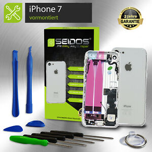 Backcover-fuer-iPhone-7-im-8er-Look-Weiss-VORMONTIERT-Gehaeuse-Rueckseite-Tasten