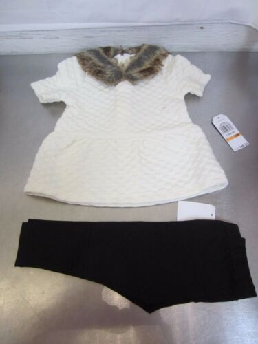 Nautica Baby Girl/'s Knit Top with Removable Faux Fur Collar /& Legging # 12 Month