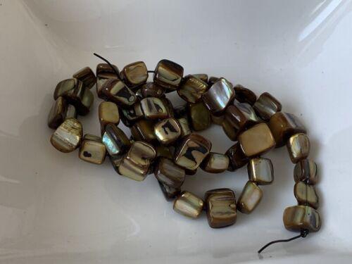Perlmutt Nuggets 6x8mm braun 50 Stück 1 Strang Muschel Perlen K107