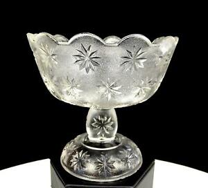 BEATTY-BRADY-INDIANA-GLASS-STIPPLED-SANDBUR-STAR-VARIANT-5-034-COMPOTE-1898-1905
