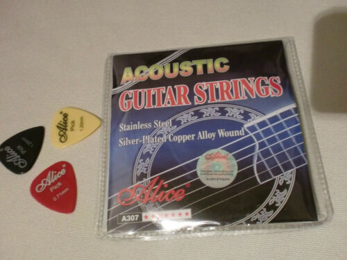 ALICE A307-SL ACOUSTIC GUITAR STRINGS /& 3 FREE PICKS TOP VALUE @ £3.49 A SET