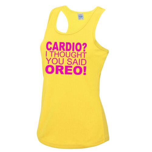 pensavo avessi detto Oreo Cardio Ragazze Canotta Tee Top Palestra Allenamento Fitness JC015