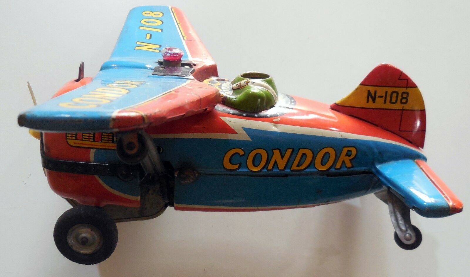 VINTAGE TIN TOY AIRPLANE CONDOR N-108 MODERN TOYS JAPAN JAPAN JAPAN 1960s battery operated be0818