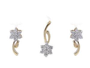 Pave-0-67-Cts-Runde-Brilliant-Cut-Diamanten-Anhaenger-Ohrringe-Set-In-14K-Gold