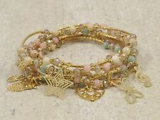 Pastel Bracelets 18k Gold Plated Crystals, Jade Beads & Multi Charms
