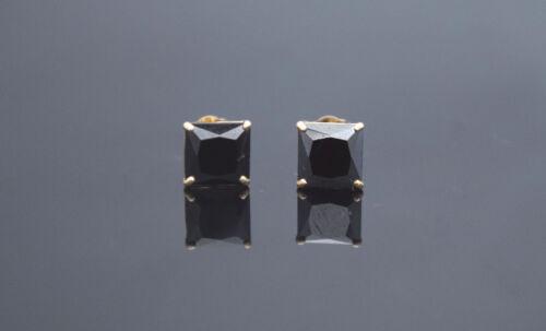 Black Lab Diamond 14K Solid Yellow Gold Square Push Back Stud Earrings 0.50 TCW
