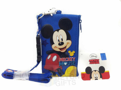 Disney Mickey /& Minnie Set of 2 Lanyard ID Ticket Badge Key Chain Holder Wallet