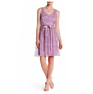 NWT-Marina-Embroidered-Lace-Dress-Womens-4-Sleeveless-Lilac-Fit-amp-Flare-Purple