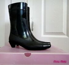 MIU MIU BLACK RUBBER RAINBOOTS WELLIES SIZE 36 MADE IN ITALY WITH BOX