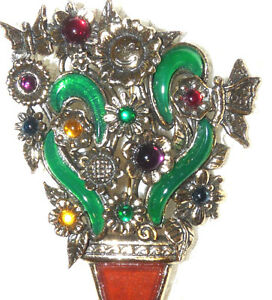 Vintage-MIRACLE-Glass-amp-Enamel-Flower-in-a-Pot-Brooch-Pin-M08
