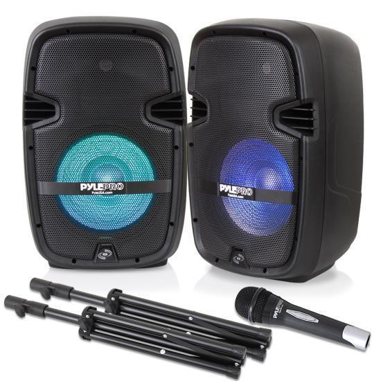 PA Speaker & DJ Mixer Bundle (2) 10'' Bluetooth PA Speakers, 8-Ch. Audio Mixer