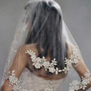Women-Veil-Hair-Comb-White-Rhinestone-Wedding-Bridal-Flower-Hair-Accessories-D
