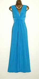 Long-Turquoise-Grecian-Knot-Panel-Maxi-Evening-Party-Dress-Size-10-26-Prom-Ball