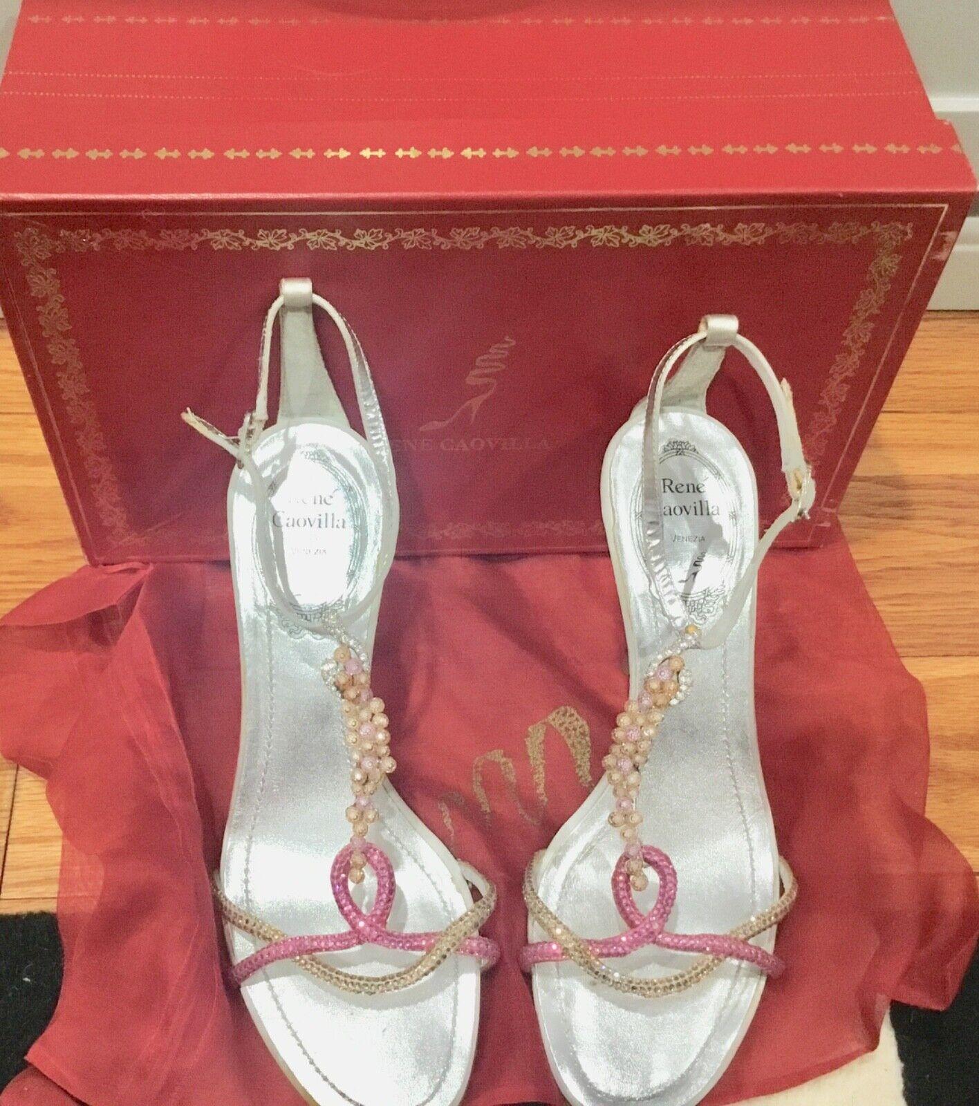 Rene Caovilla Silver pink Sandals Crystal Stones 36  1125