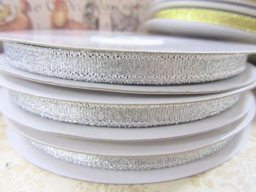 "33 yards Roll Metallic Taffeta 1//4/"" Holiday Gift Ribbon//Bow R75-7mm Gold//Silver"
