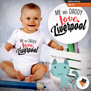 ME AND DADDY LOVE LIVERPOOL BABYGROW BABY GROWS SUIT SHORT SLEEVE bodysuit NEW j