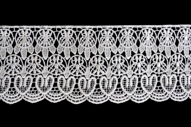 """Unotrim 4"""" Ivory and White Floral Venice Vintage Guipure Lace Trim By Yardage"""