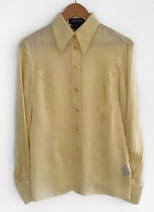 Authentic-Women-039-s-ESCADA-MARGARETHA-LEY-Silk-Blouse-Shirt-Yellow-Size-38