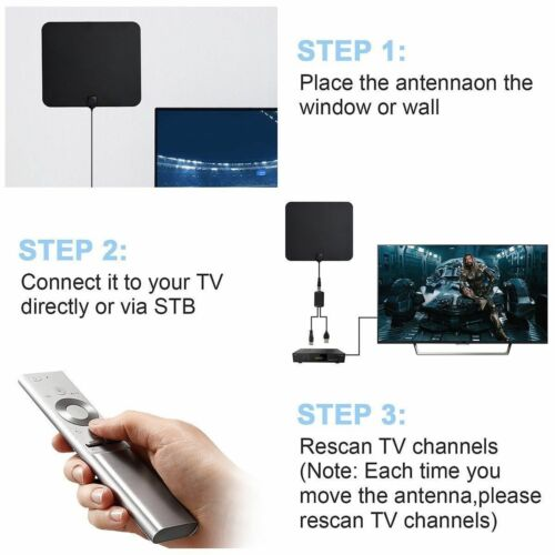 TV Antenna Indoor Outdoor HDTV Free HD Digital Channels 13 Ft Coax 4K 1080P Free