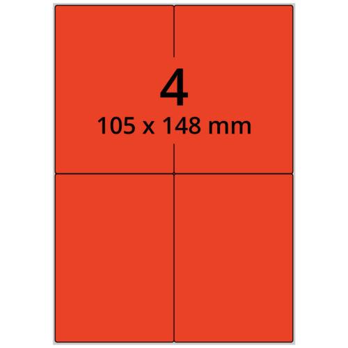 Laseretiketten rot A4 Bogen 105 x 148 mm Papier 400 Laserdrucker Etiketten