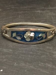 For-Kids-Junior-Vintage-Abalone-Mexican-Taxco-925-Silver-Bangle-Bracelet