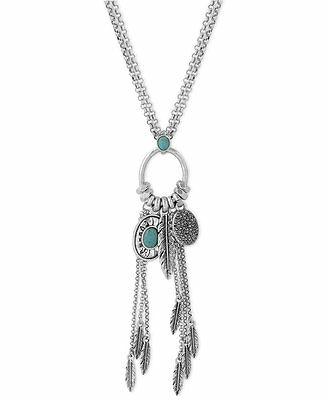 NWT Lucky Brand Silver-Tone Turquoise Multi-Charm Feather Long Pendant Necklace