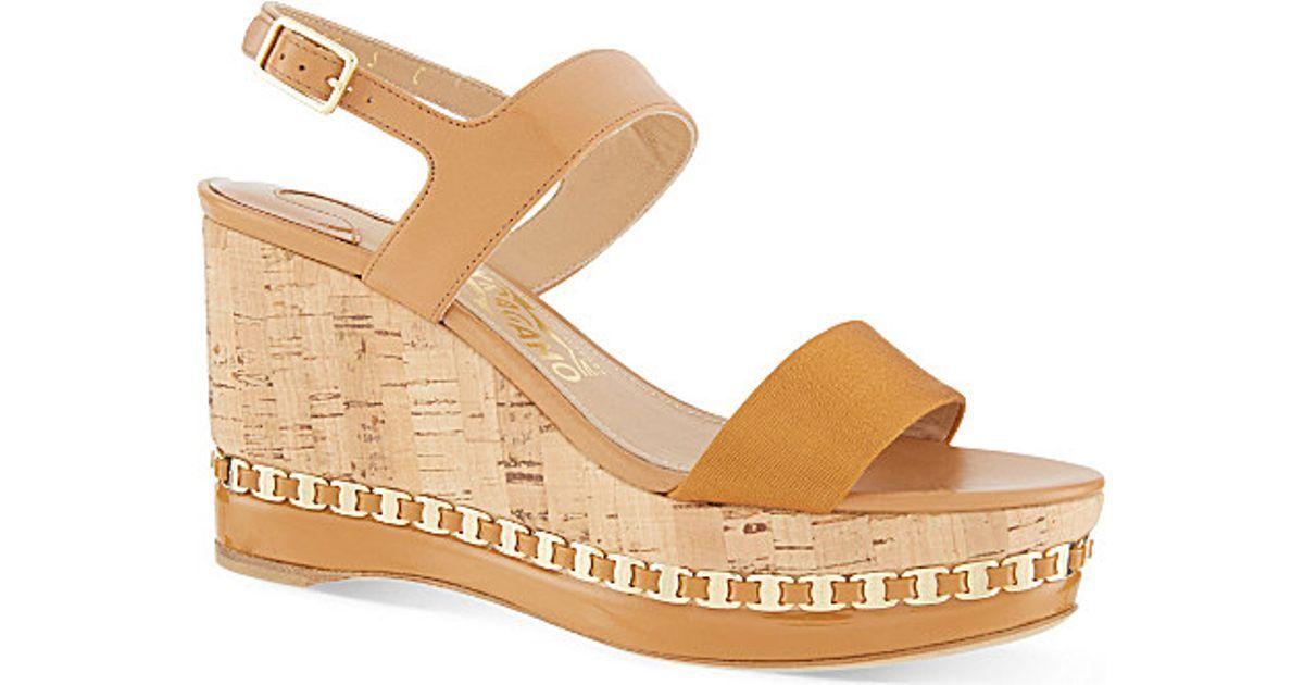 Salvatore Ferragamo Mollie Cadena-Recortar Sandalias Sandalias Sandalias De Cuña Zapatos Alpargatas 9.5  hermoso