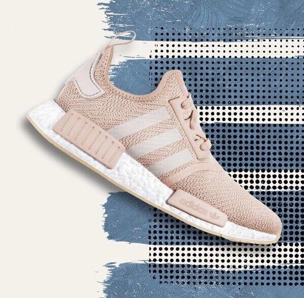 Women's Adidas NMD R1 W Nomad Ash Pearl Chalk Pink Salmon 3M White CQ2018 Sz 8.5