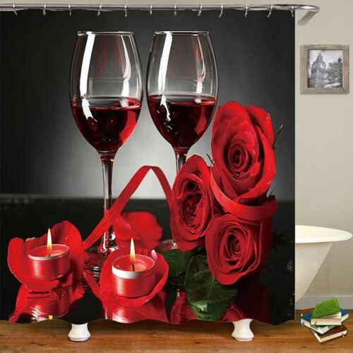 Red Wine Rose Waterproof Shower Curtain Bathroom Toilet Lid Cover Bath Mat Set