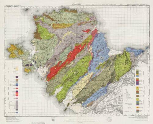 Anglesey geological survey Wales Bangor Holyhead Caernarfon 1972 old map