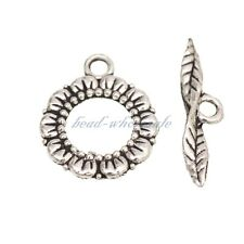 Wholesale 6 Sets Flower Toggle Clasps  Tibetan Silver Color For DIY Jewelry