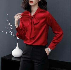 UK Women Ruffles Frill Office Formal Shirt Long Sleeve Blouse Ladies V-Neck Tops