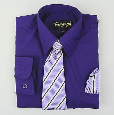 BOYS PURPLE DRESS SHIRT WITH MATCHING TIE & HANKIE LONG SLEEVE Sizes 4 - 20