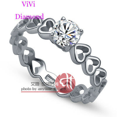 ViVi Ladies Anniversary sterling silver signity Diamond Ring 8152a