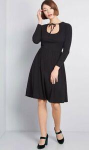 ModCloth-034-como-usted-prefiere-034-suave-de-punto-de-manga-larga-cuello-Corbata-Negro-Vestido