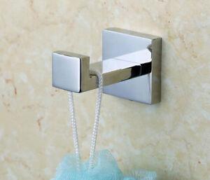NEW-Robe-Towel-Hook-Single-Modern-Chrome-Square-Design-Stainless-steel-Bathroom
