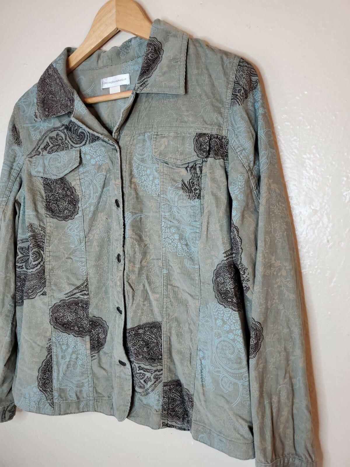 Christopher And Banks Corduroy Jacket Paisleys To… - image 2