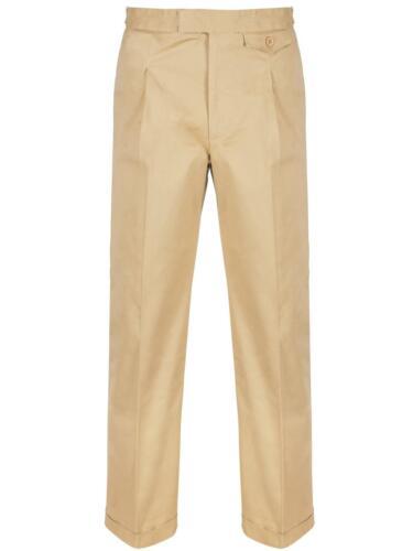 1940s Trousers, Mens Wide Leg Pants   Fishtail Back Trousers Revival 1940s Beige Chino Cotton Mens High Waist Trousers £67.99 AT vintagedancer.com