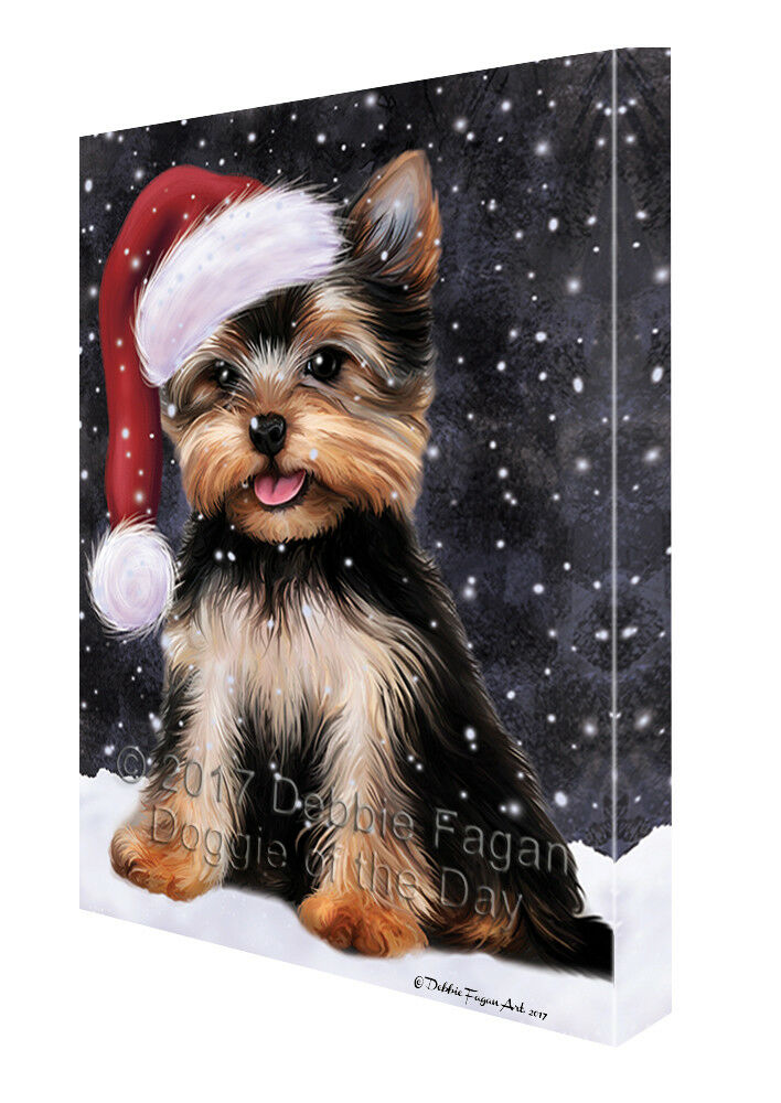 Let it Snow Christmas Holiday Yorkshire Terrier Dog Canvas Wall Art T88