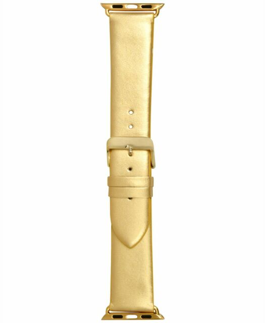 NEW I.N.C. Women's Metallic Gold-Tone Faux Leather 38mm Apple Watch Band Strap