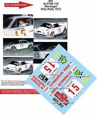 PROMO Decals 1/24 réf 981 Renault Alpine 110 Manzagol Elba rally 1972