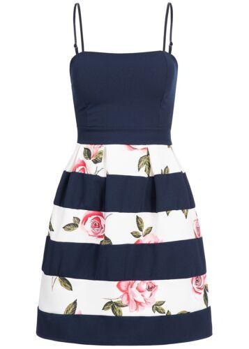 50/% off b17059061 señora Violet vestido corto florales patrón vigas Navy azul blanco