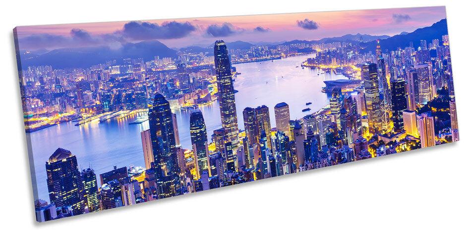 Hong Kong Stadt Harbour Sunset CANVAS Wand Kunst Panorama Framed Drucken
