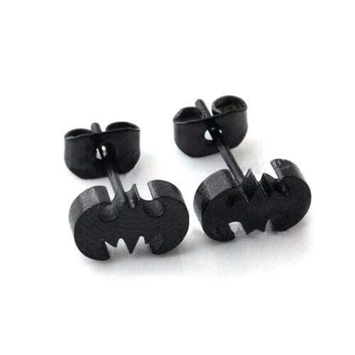 1 Paire en Acier Inoxydable Batman Bat Mode Unisexe Boucles Clous d/'oreilles