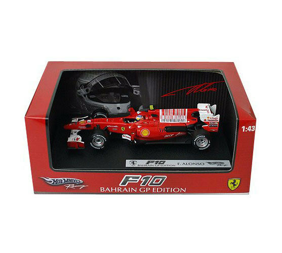 Hot Wheels Racing Ferrari F10 Bahrain GP Fernando Alonso T6289 1 43