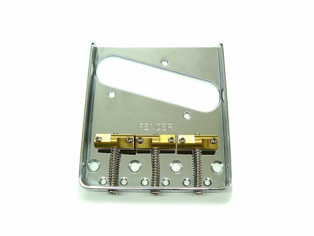 Fender® Vintage Tele Bridge chrom, für Telecaster, kompensierte Messing-Sättel