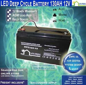 130AH-BATTERY-DEEP-CYCLE-AGM-12v-034-LED-034-FREE-FREIGHT-CAMPING-CARAVAN-MARINE