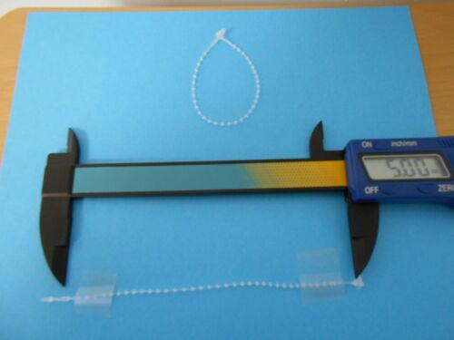 """1,000-5/"""" Tie Lock Tag Fastners-Adjustable Security beaded Loop Clear Plastic"""